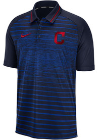 Cleveland Indians Nike GM Stripe Polo Shirt - Navy Blue