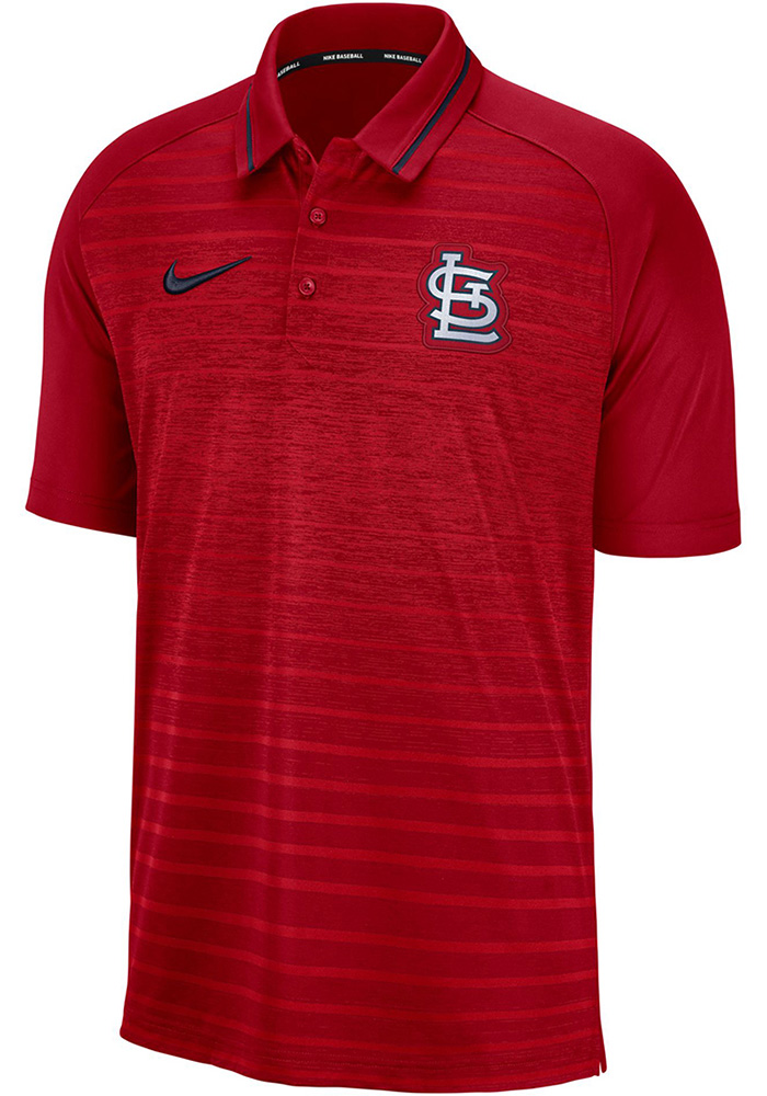 Nike St Louis Cardinals Mens Red GM Stripe Short Sleeve Polo - Image 1