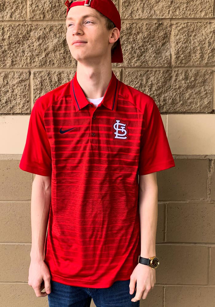 Nike St Louis Cardinals Mens Red GM Stripe Short Sleeve Polo - Image 2