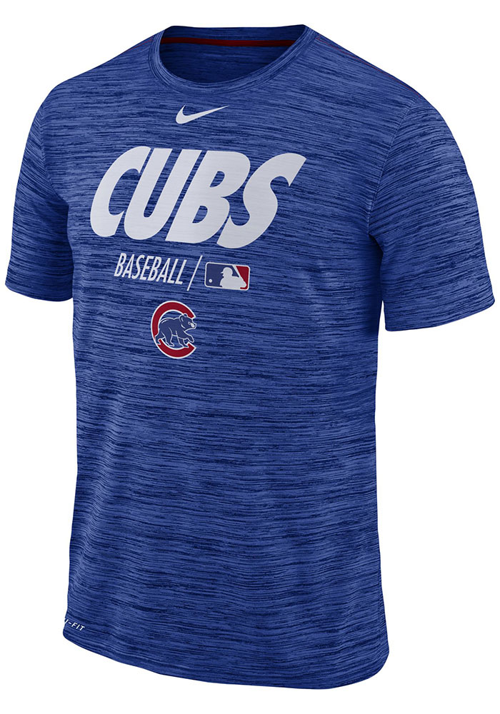 30d0eb4ee8b Nike Chicago Cubs Blue AC Velocity Team Issue Short Sleeve T Shirt - Image 1