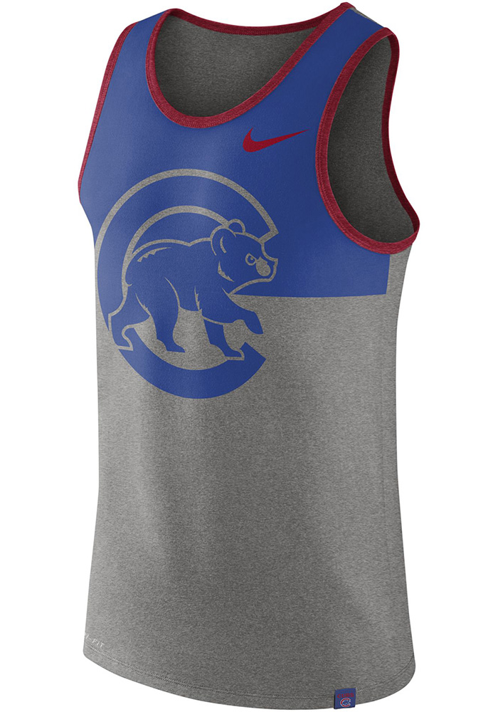 Nike Chicago Cubs Mens Grey Dry Tee Short Sleeve Tank Top - Image 1