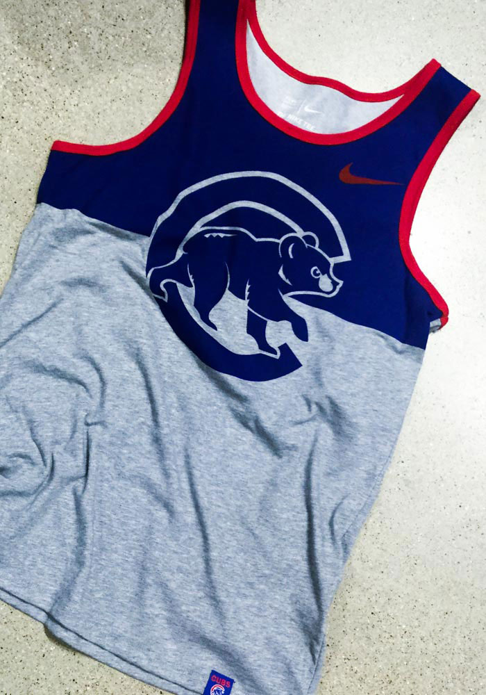 Nike Chicago Cubs Mens Grey Dry Tee Short Sleeve Tank Top - Image 2