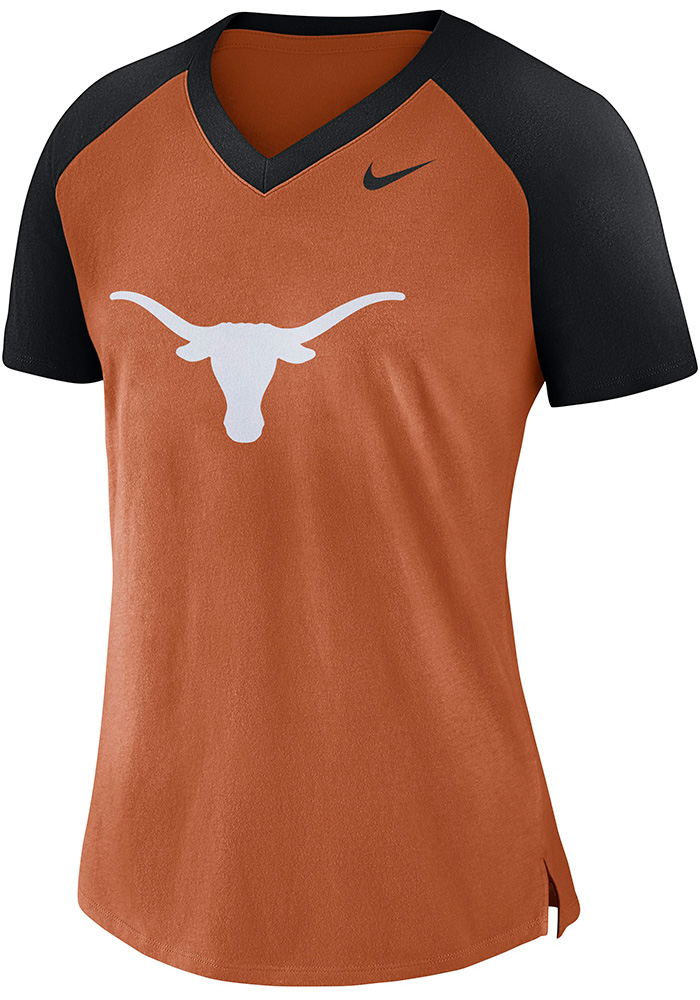 Nike Texas Longhorns Womens Orange Top V-Neck T-Shirt - Image 1