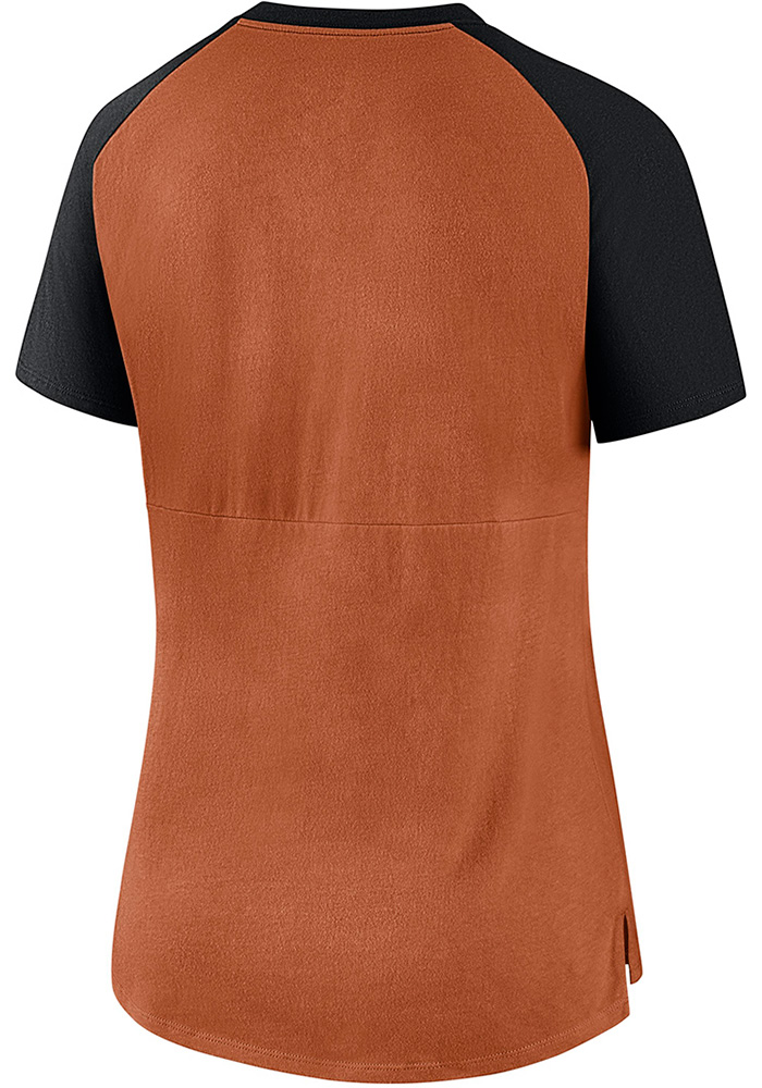 Nike Texas Longhorns Womens Orange Top V-Neck T-Shirt - Image 2