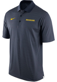 Michigan Wolverines Nike Striped Polo Shirt - Navy Blue