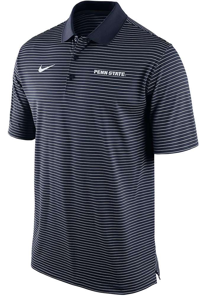 Nike Penn State Nittany Lions Mens Navy Blue Striped Short Sleeve Polo - Image 1