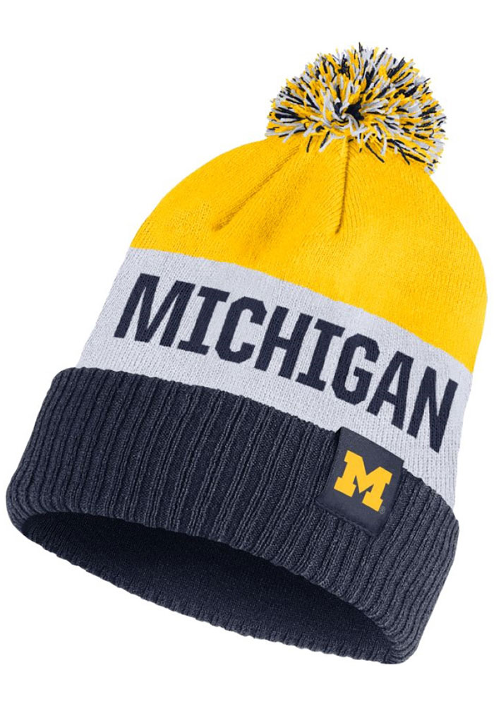 Nike Michigan Wolverines Navy Blue Striped Pom Mens Knit Hat - Image 1