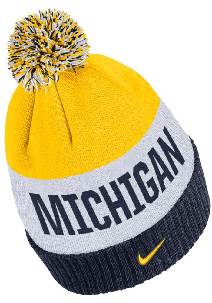 Nike Michigan Wolverines Navy Blue Striped Pom Mens Knit Hat - Image 2