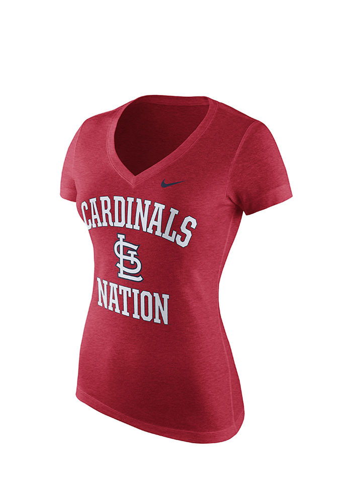 Nike St Louis Cardinals Womens Red Local Phrase V-Neck T-Shirt - Image 1