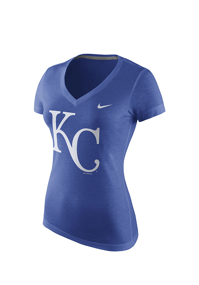 Nike Kansas City Royals Womens Blue Logo V-Neck T-Shirt - Image 1