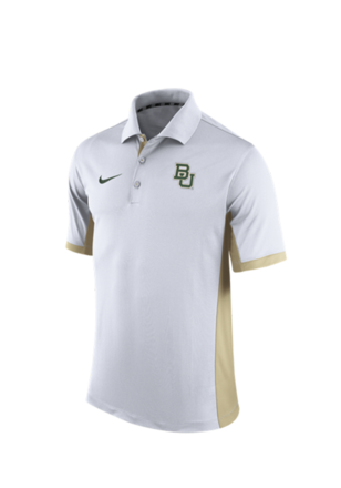 Nike Baylor Mens White 2015 TEAM ISSUE Short Sleeve Polo Shirt