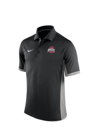 Nike The Ohio State University Mens Black 2015 TEAM ISSUE Short Sleeve Polo Shirt