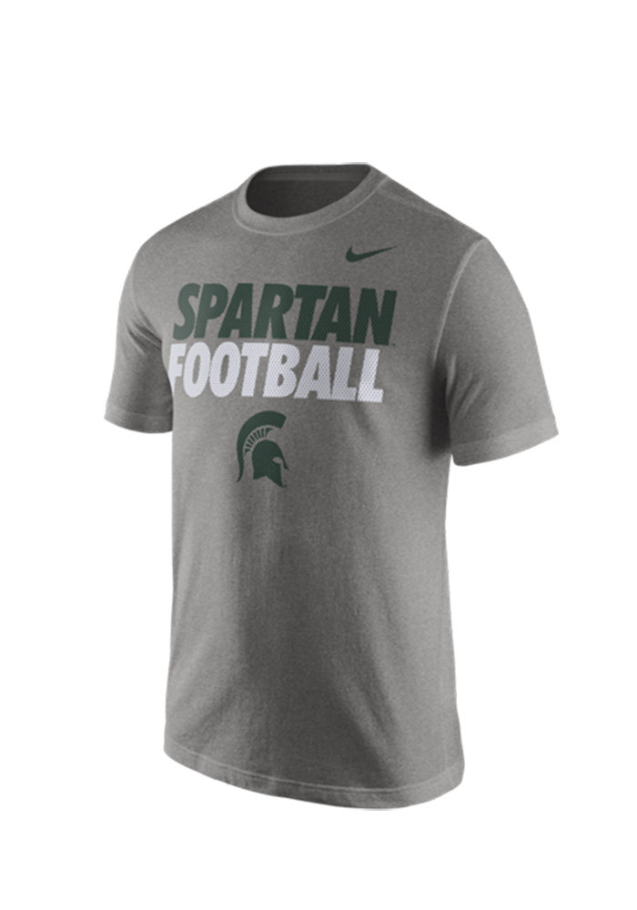 Nike Michigan State Spartans Mens Grey 2015 Practice Tee Short Sleeve T Shirt - Image 1