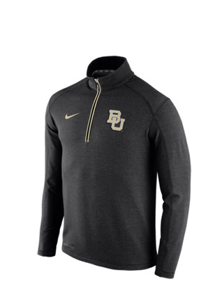 Nike Baylor Mens Black Game Day Knit Top 1/4 Zip Performance Pullover