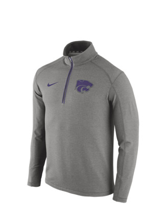 Nike K-State Wildcats Mens Grey Game Day Knit Top 1/4 Zip Pullover