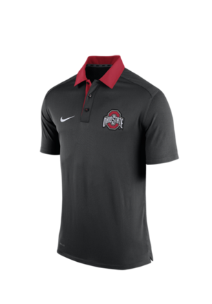 Nike The Ohio State University Mens Black 2015 Coaches Polo Short Sleeve Polo Shirt