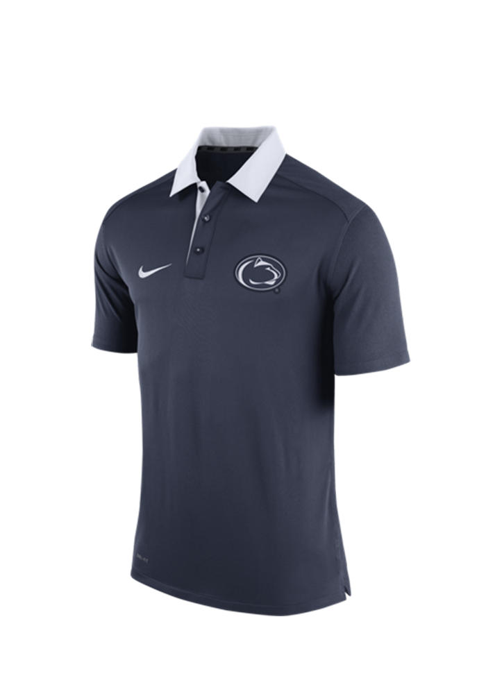 Nike Penn State Nittany Lions Mens Navy Blue 2015 Coaches Polo Short Sleeve Polo - Image 1