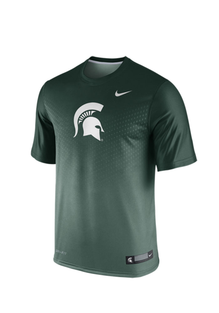 Nike MSU Mens Green 2015 Legend Player Tee Performance T-Shirt 12514308