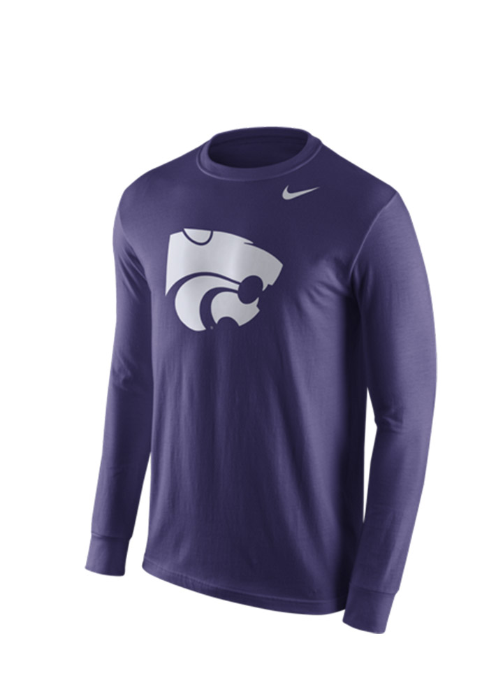 Nike K-State Wildcats Mens Purple Logo Long Sleeve T Shirt - Image 1