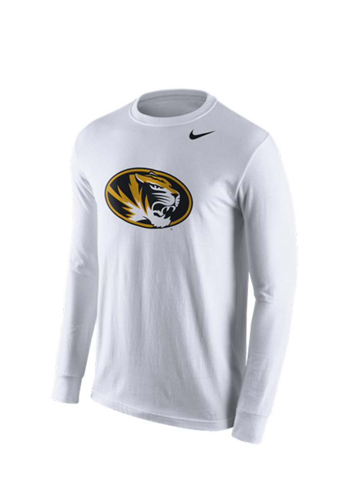 Nike Missouri Tigers Mens White Logo Tee Long Sleeve T Shirt - Image 1