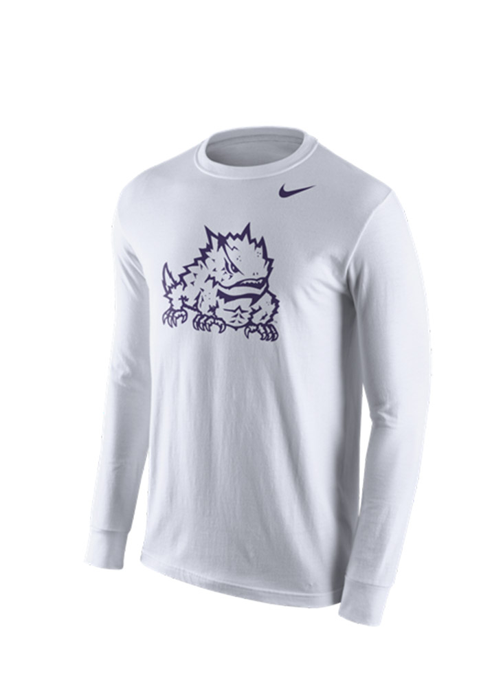 Nike TCU Horned Frogs Mens White Logo Tee Long Sleeve T Shirt - Image 1