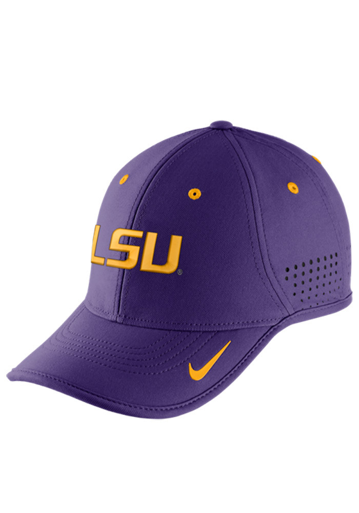 Nike LSU Tigers Mens Purple Dri-Fit Coaches Adjustable Hat - Image 1