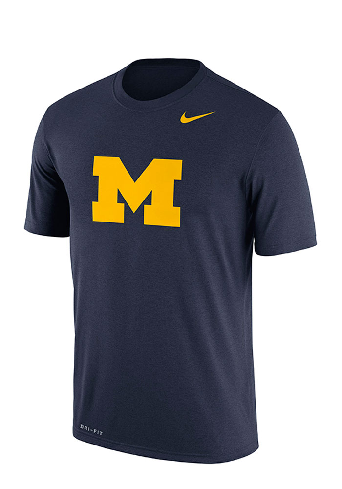 Nike michigan wolverines mens navy blue logo legend short for Navy blue and white nike shirt