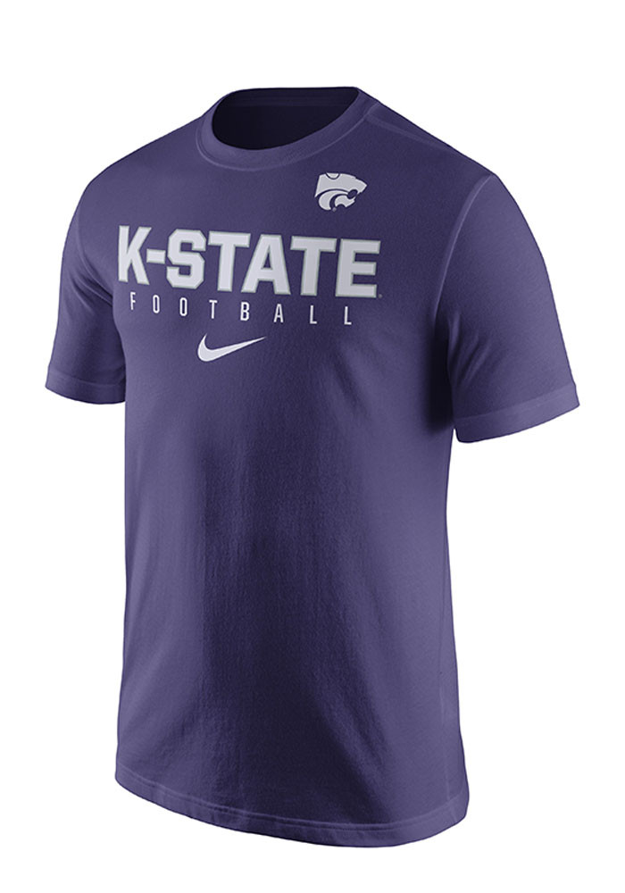 Nike K-State Wildcats Mens Purple Practice Short Sleeve T Shirt - Image 1