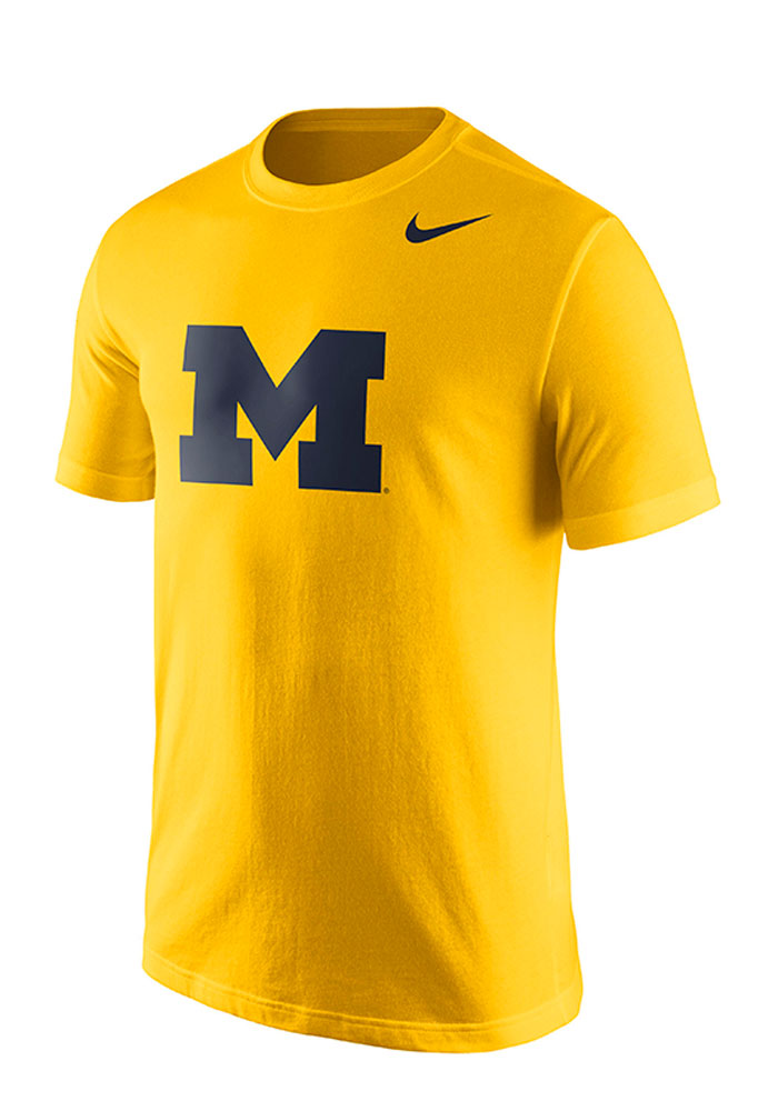 Nike Michigan Wolverines Mens Gold Logo Short Sleeve T Shirt - Image 1