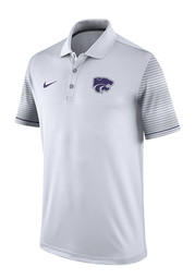 Nike K-State Wildcats Mens White Early Season Coach Short Sleeve Polo Shirt