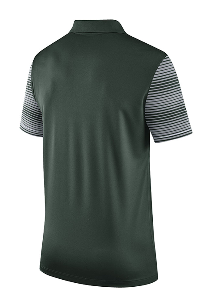 Nike Michigan State Spartans Mens Green Early Season Coach Short Sleeve Polo - Image 2