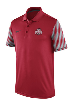 Nike The Ohio State University Mens Red Early Season Coach Short Sleeve Polo Shirt