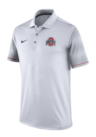 Nike The Ohio State University Mens White Early Season Coach Short Sleeve Polo Shirt