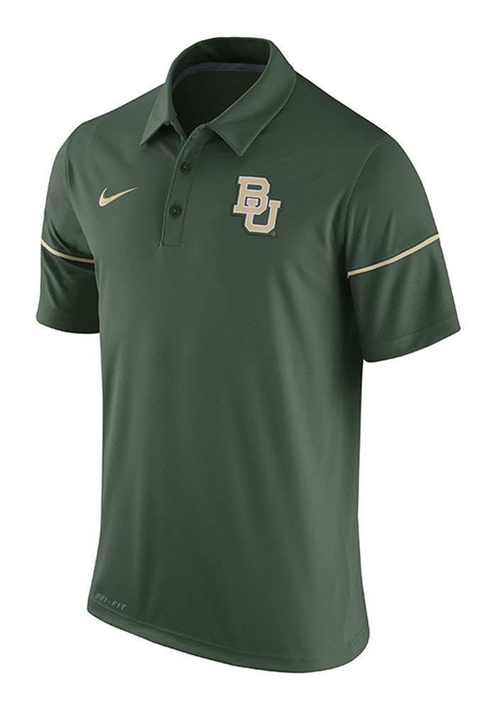 Nike Baylor Bears Mens Green Team Issue Short Sleeve Polo - Image 1