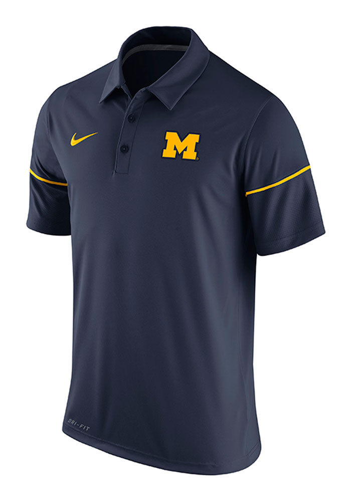 Nike Michigan Wolverines Mens Navy Blue Team Issue Short Sleeve Polo - Image 1