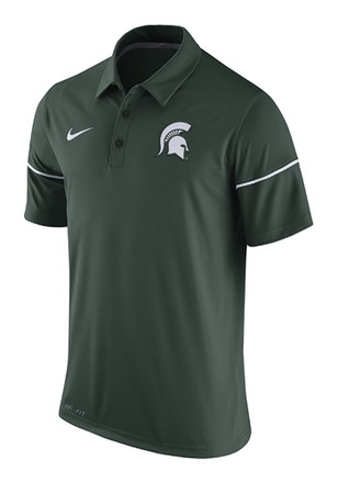 Nike Michigan State Spartans Mens Green Team Issue Short Sleeve Polo Shirt
