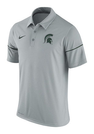 Nike Michigan State Spartans Mens Grey Team Issue Short Sleeve Polo Shirt