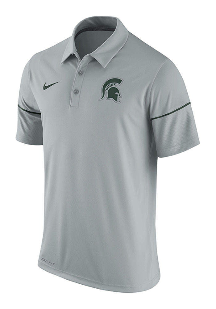 Nike Michigan State Spartans Mens Grey Team Issue Short Sleeve Polo - Image 1