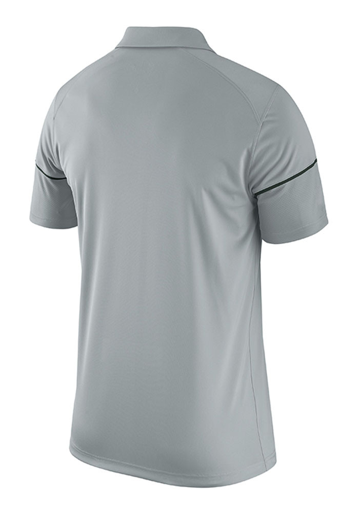 Nike Michigan State Spartans Mens Grey Team Issue Short Sleeve Polo - Image 2