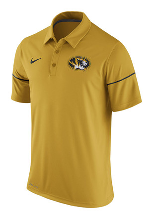 Nike Missouri Tigers Mens Gold Team Issue Short Sleeve Polo Shirt