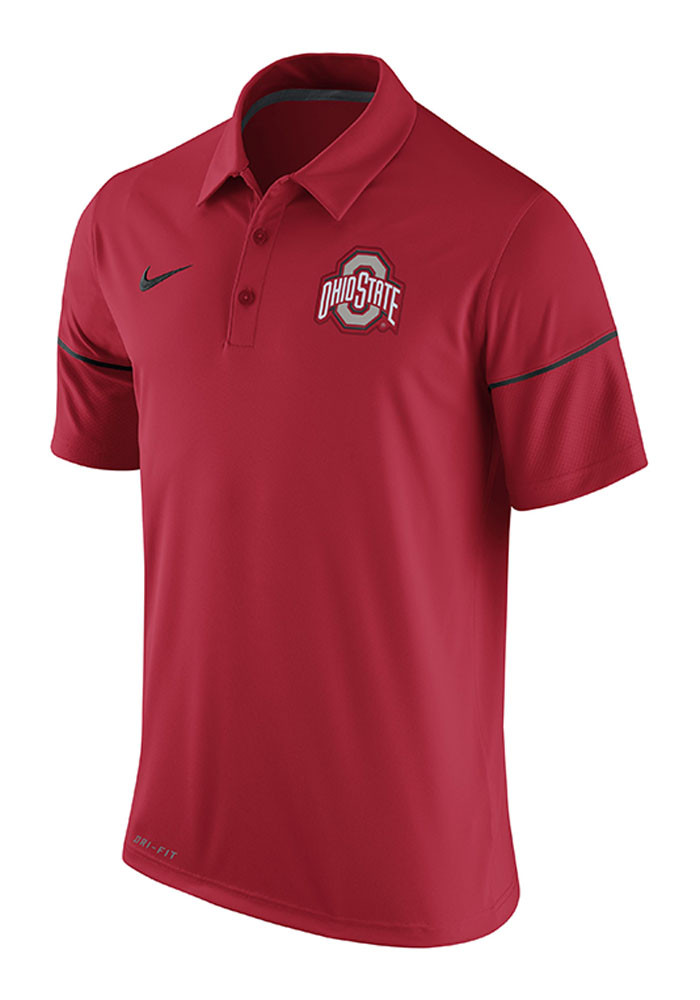 Nike Ohio State Buckeyes Mens Red Team Issue Short Sleeve Polo - Image 1