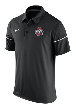 Nike The Ohio State University Mens Black Team Issue Short Sleeve Polo Shirt