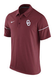 Nike Oklahoma Mens Red Team Issue Short Sleeve Polo Shirt
