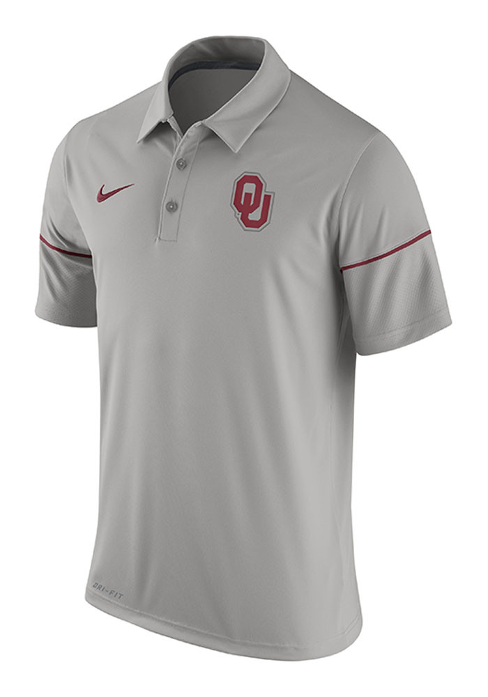 Nike Oklahoma Sooners Mens Grey Team Issue Short Sleeve Polo - Image 1