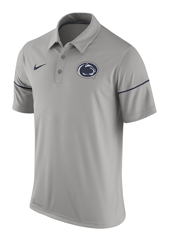 Nike Penn State Nittany Lions Mens Grey Team Issue Short Sleeve Polo - Image 1
