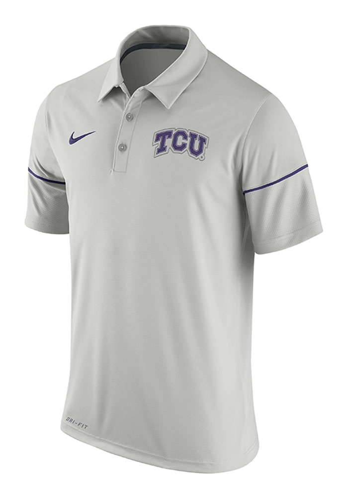 Nike TCU Horned Frogs Mens Grey Team Issue Short Sleeve Polo - Image 1