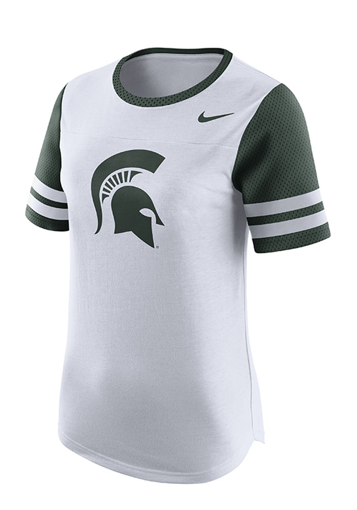 Nike Michigan State Spartans Womens White Gear Up Modern Short Sleeve Crew T-Shirt - Image 1