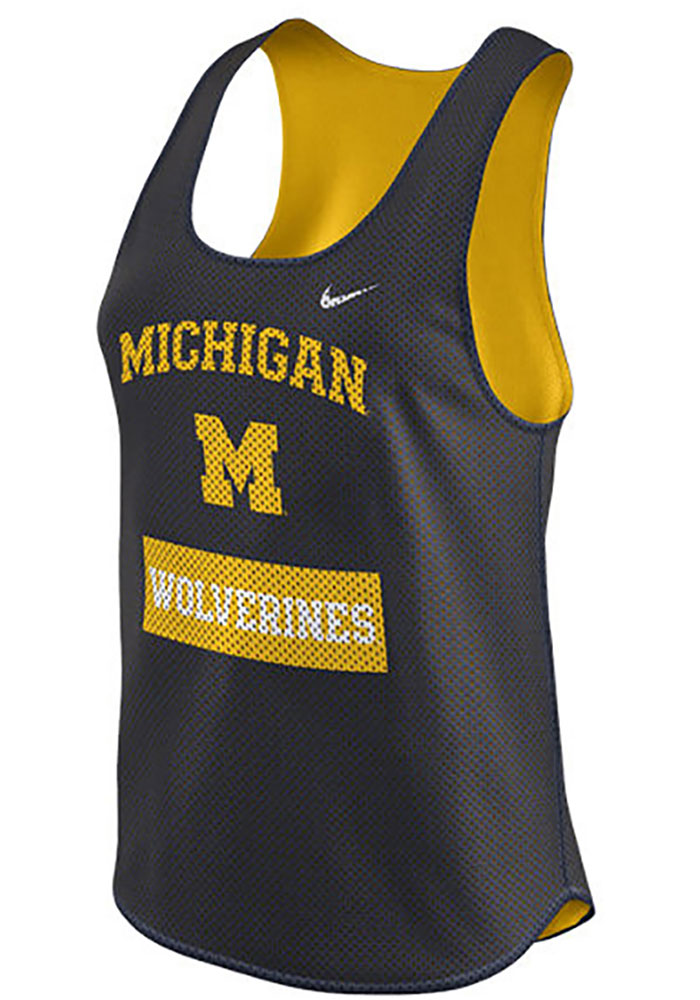 Nike Michigan Wolverines Womens Navy Blue Gear Up Mesh Tank Top - Image 2