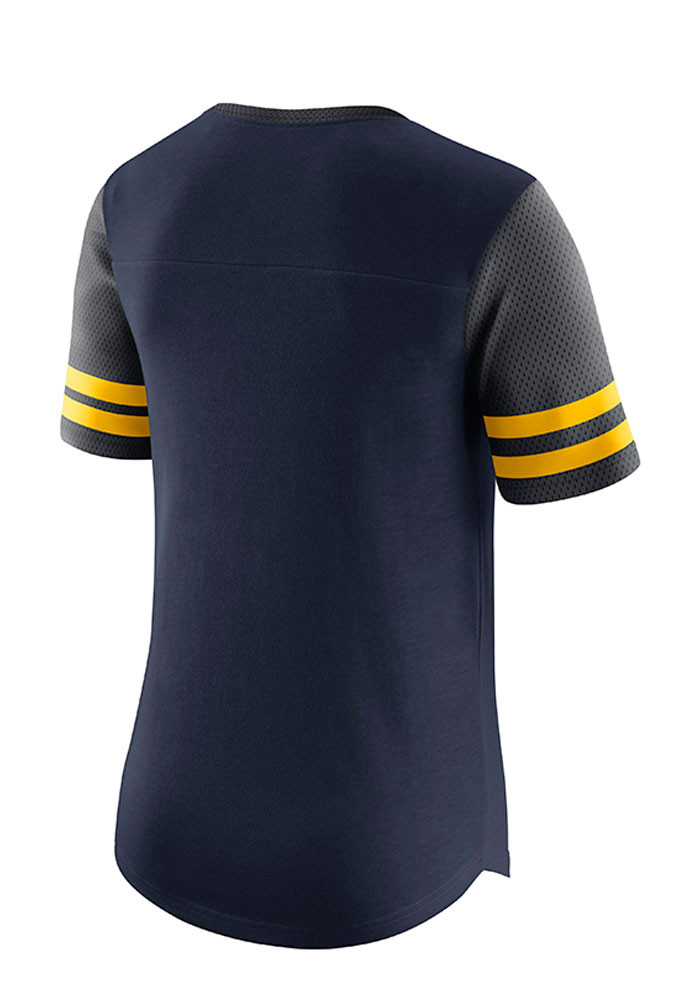 Nike michigan wolverines womens navy blue gear up modern for Navy blue and white nike shirt