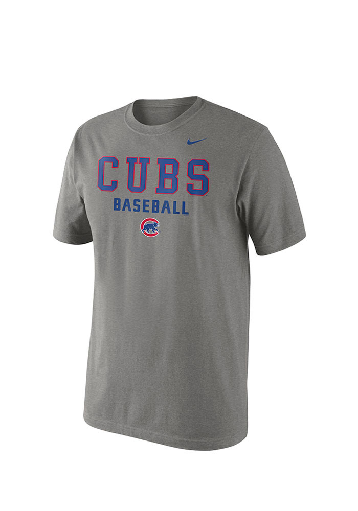 Nike Chicago Cubs Mens Grey MLB SS Practice Tee 1.5 Short Sleeve T Shirt - Image 1